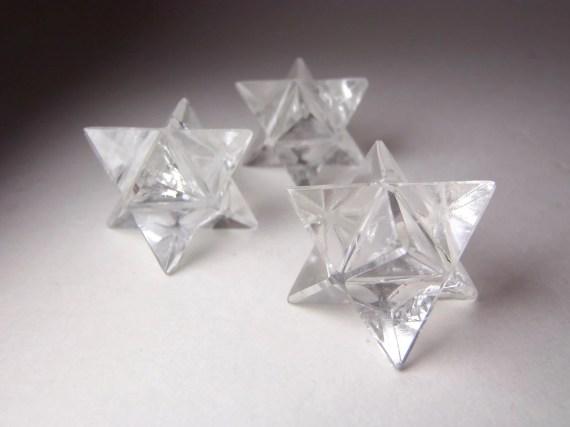 Small Clear Quartz Merkaba Star. Flower of Life Sacred Geometry. Crystal / Mineral Specimen )0( - SolsticeStones