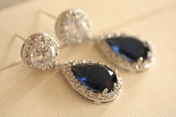 Bridal Wedding earrings with clear and royal blue AAA Cubic Zirconia Crystals, Vintage Inspired - MillieICARO