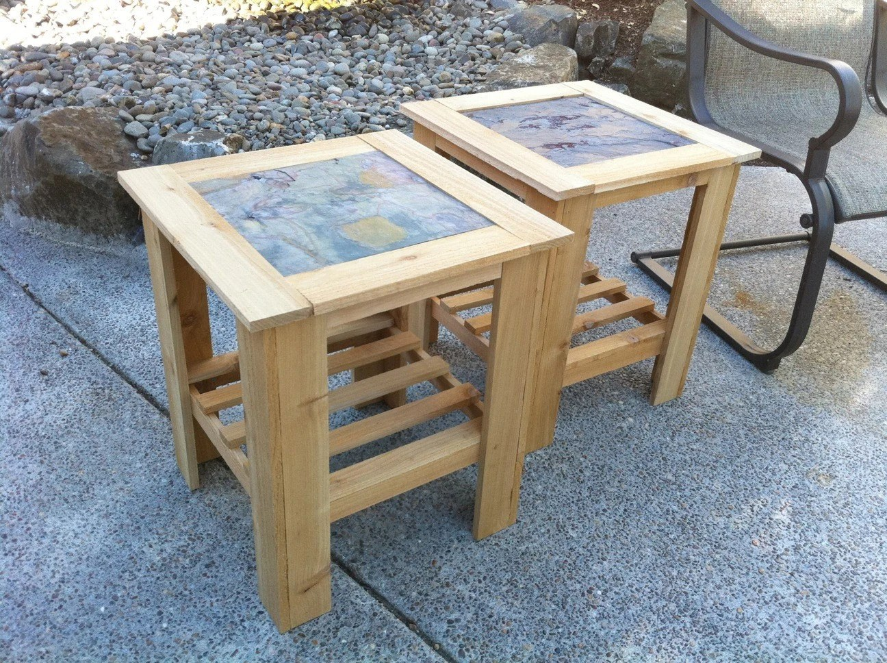 CLEAR FINISH Solid Cedar Wood End Table Outdoor Table Kids