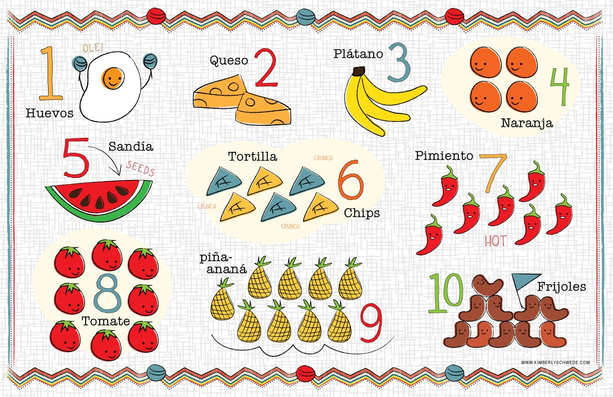 Kids Spanish Number And Food Chart Placemat By Bebebilingual
