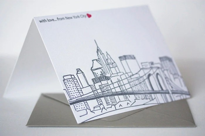 New York City Skyline Letterpress Greeting Card