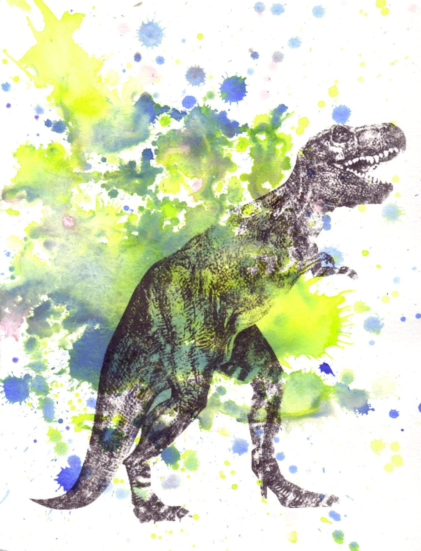 Tyrannosaurus Rex T Rex Dinosaur Watercolor Painting