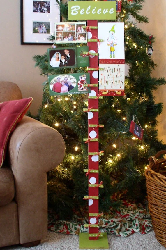 Wooden Christmas Card Display Holder With Base