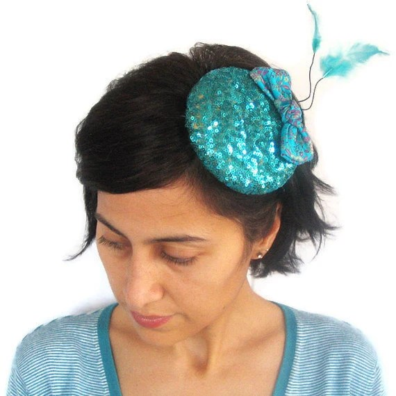 Teal Cocktail Hat Sequined Fascinator Sparkle Hair Charm OOAK