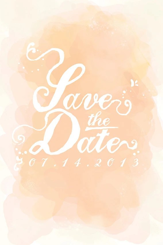 Romantic save the date postcard. Hand painted watercolor.Unique. - FeliceDesign