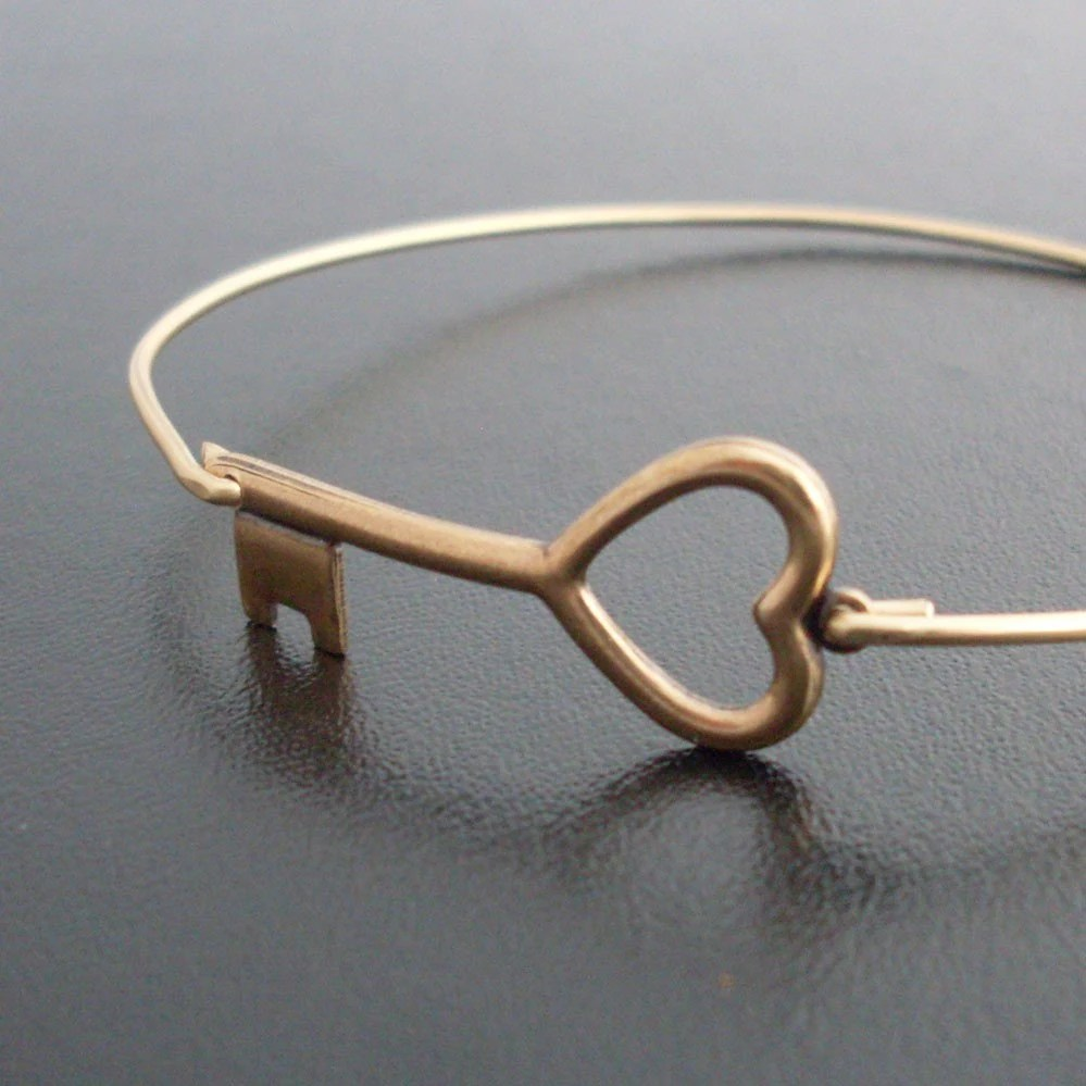 Key to My Heart Bangle Bracelet - Gold Tone, Brass Bangle, Heart Key Bracelet, Brass Key Heart, Key to Heart Jewelry