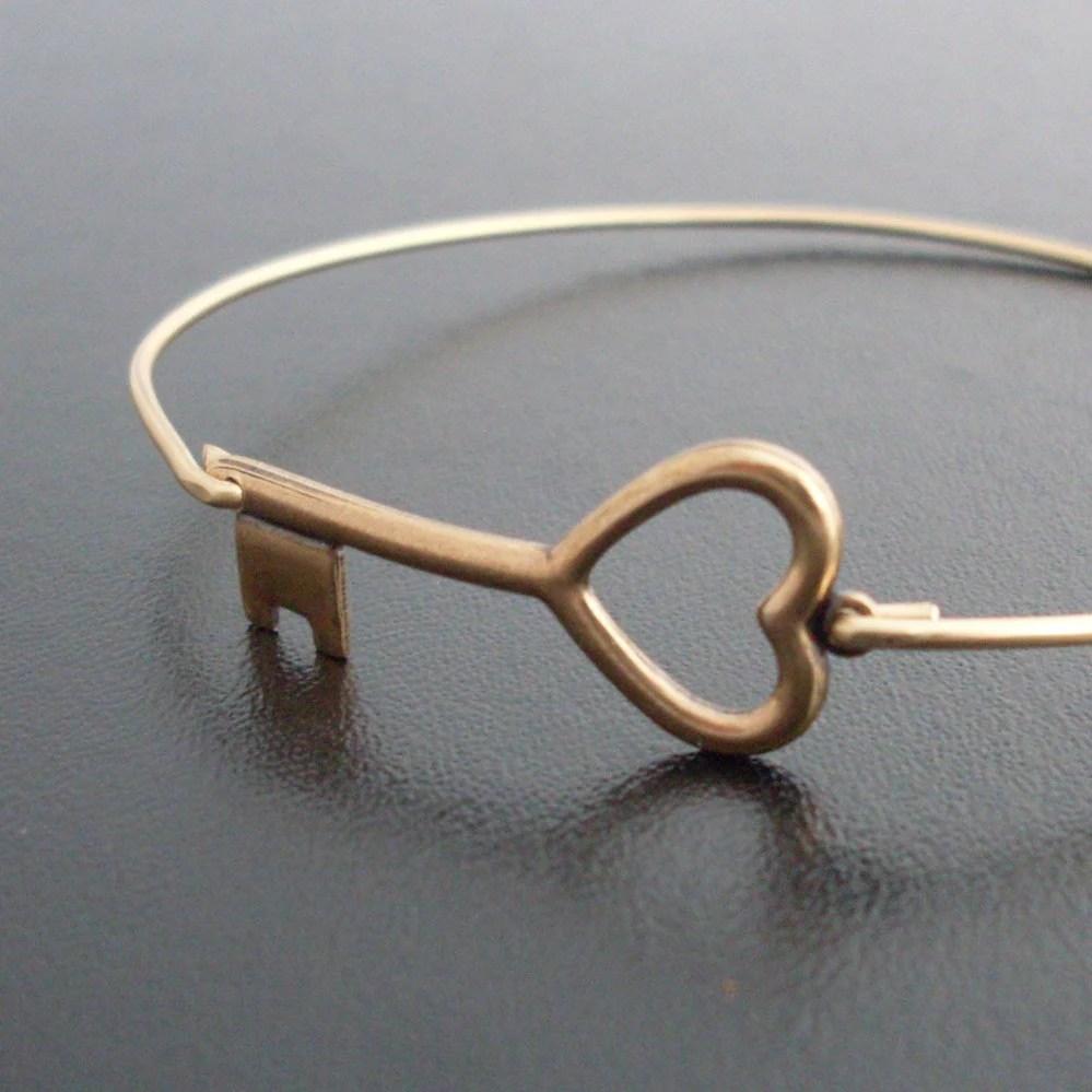 Key to My Heart Bangle Bracelet - Gold Tone, Brass Bangle, Heart Key Bracelet, Brass Key Heart, Key to Heart Jewelry