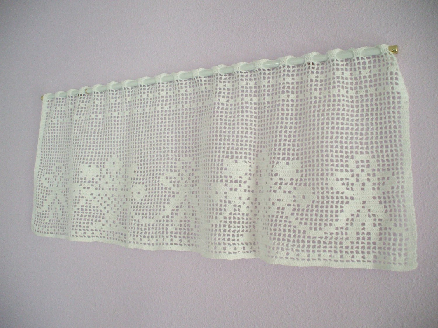 Window Valance Crochet Flower Basket And Ribbons