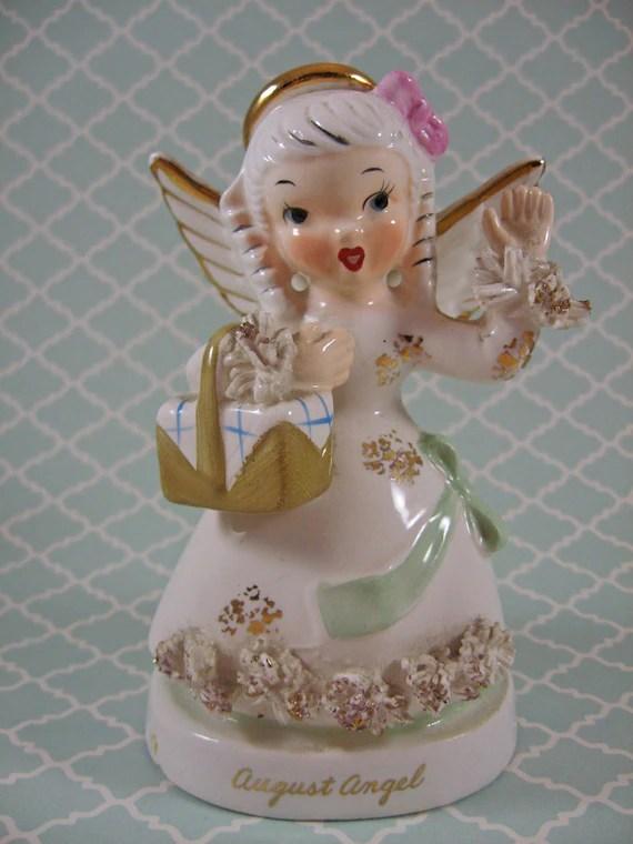 Vintage Napco Birthday Angel Figurine August Angel