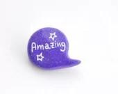 Purple polymer clay pin brooch - madamaRobe