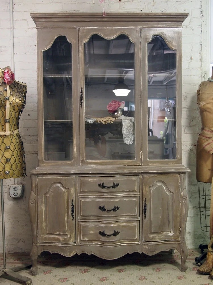 Vintage Painted Cottage Distressed French China Cabinet CH203