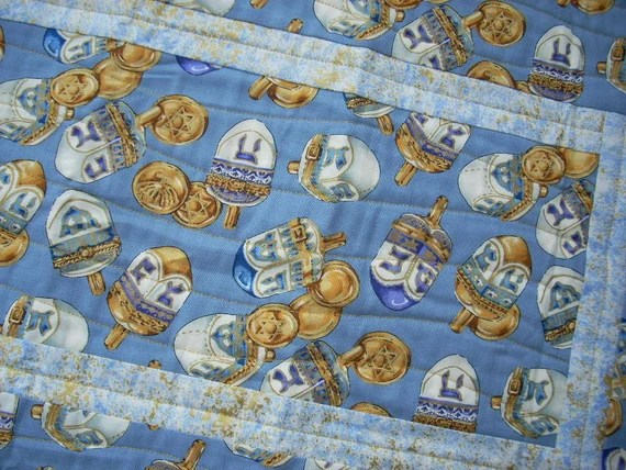 Gold and Blue for Hanukkah again tablerunner - FREE SHIPPING