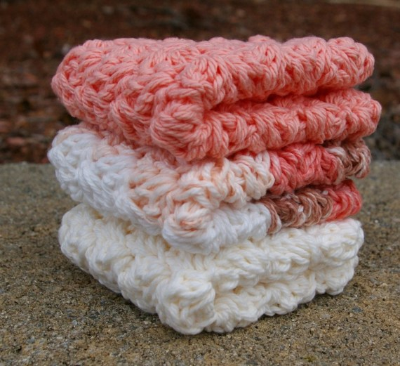 Peaches & Cream Dishcloths in Crochet Cotton - CandacesCloset