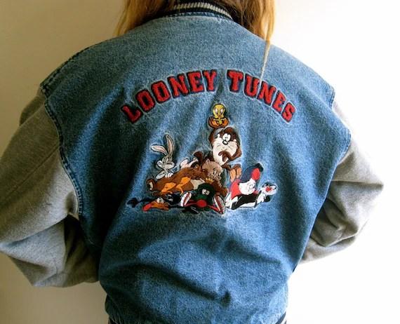 Vintage Denim Looney Tunes Varsity Jacket