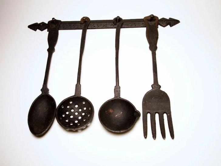 Vintage Cast Iron Kitchen Utensils Spoons Fork