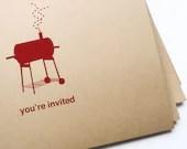 12 BBQ Invitations // free personalization and custom colors - girlingearstudio