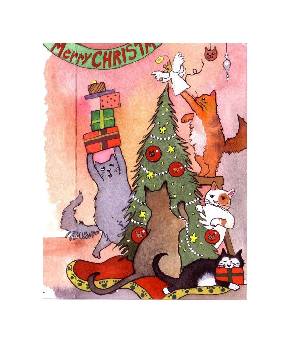 Cat Christmas Greeting Card Cat Christmas Card Funny
