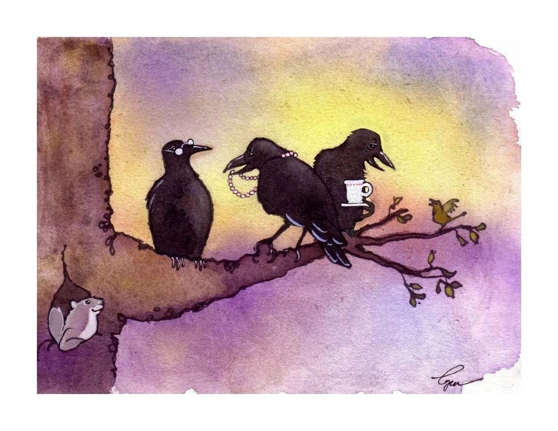 Crow Art Crow Card Funny Birds Crows Greeting Card