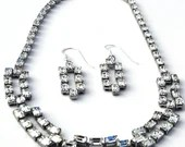 Mad Men Rhinestone Necklace Earring Demi Parure Set