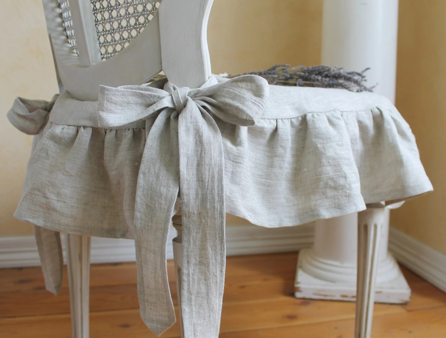 The Isabella Ruffled Linen Chair Slipcover With Ballerina Ties