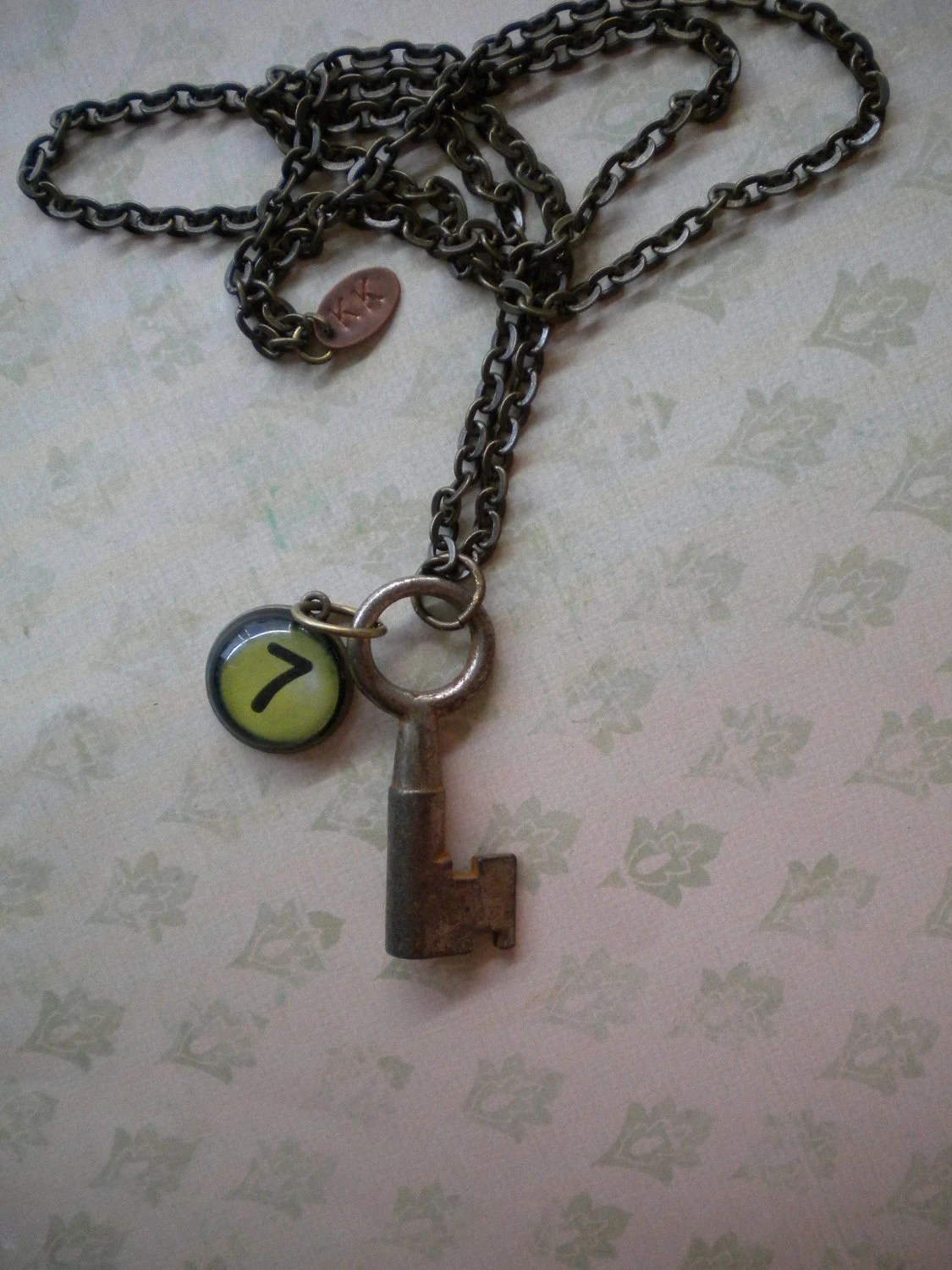 Lucky Number Seven Skeleton Key Necklace