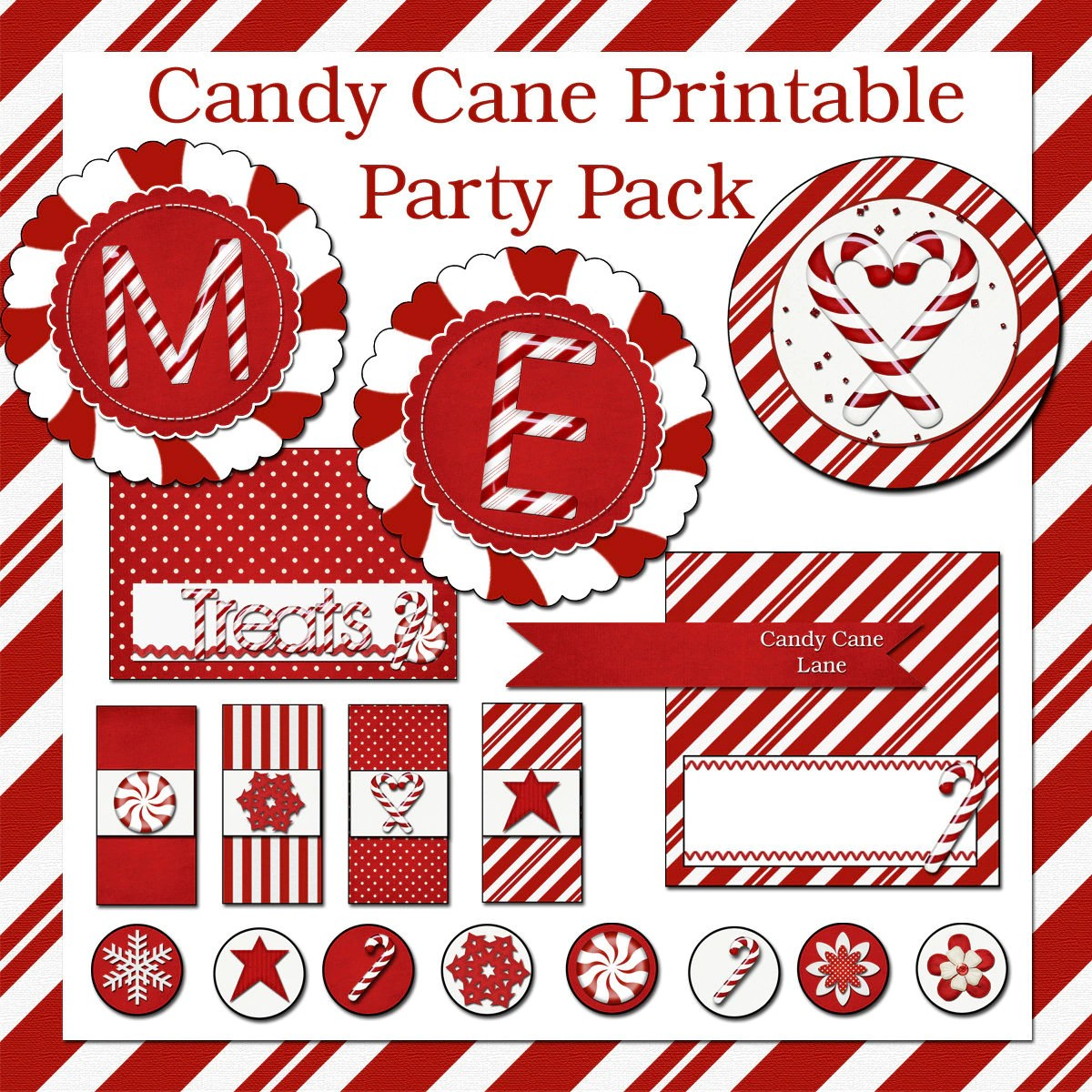 Candy Cane Printable Christmas Party By Flipchickdesigns