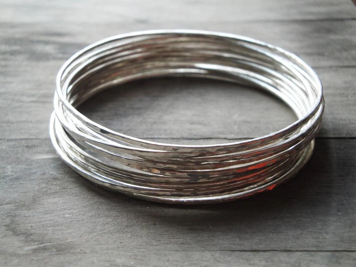 Hammered Sterling Silver Bangle Bracelets Set Of 10 Boho
