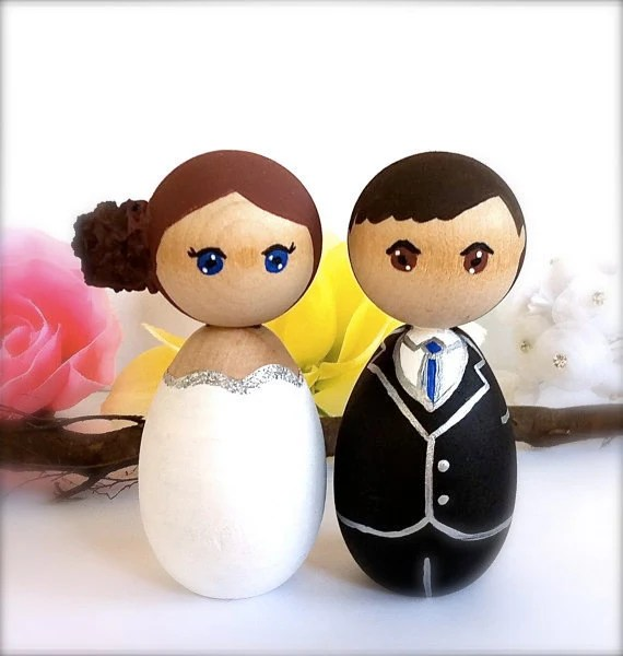 Kokeshi Dolls Wedding Cake Toppers Custom Bride Groom Wood Peg Japanese Style Anime Personalized Keepsake Collectable Painted Cute Figurines