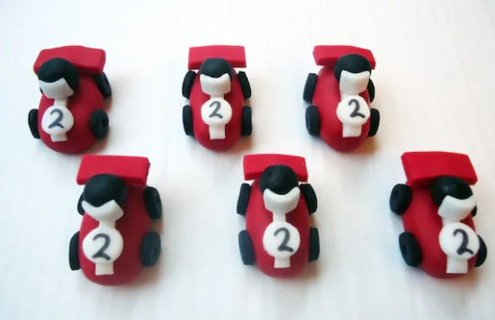 Fondant Cupcake Toppers - Race Cars - 3D