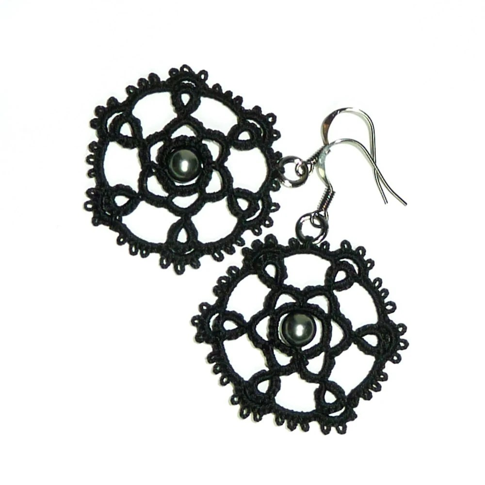Black lace earrings Gothic dark jewelry Victorian fashion statement jewelry vintage inspired steampunk earrings - Decoromana