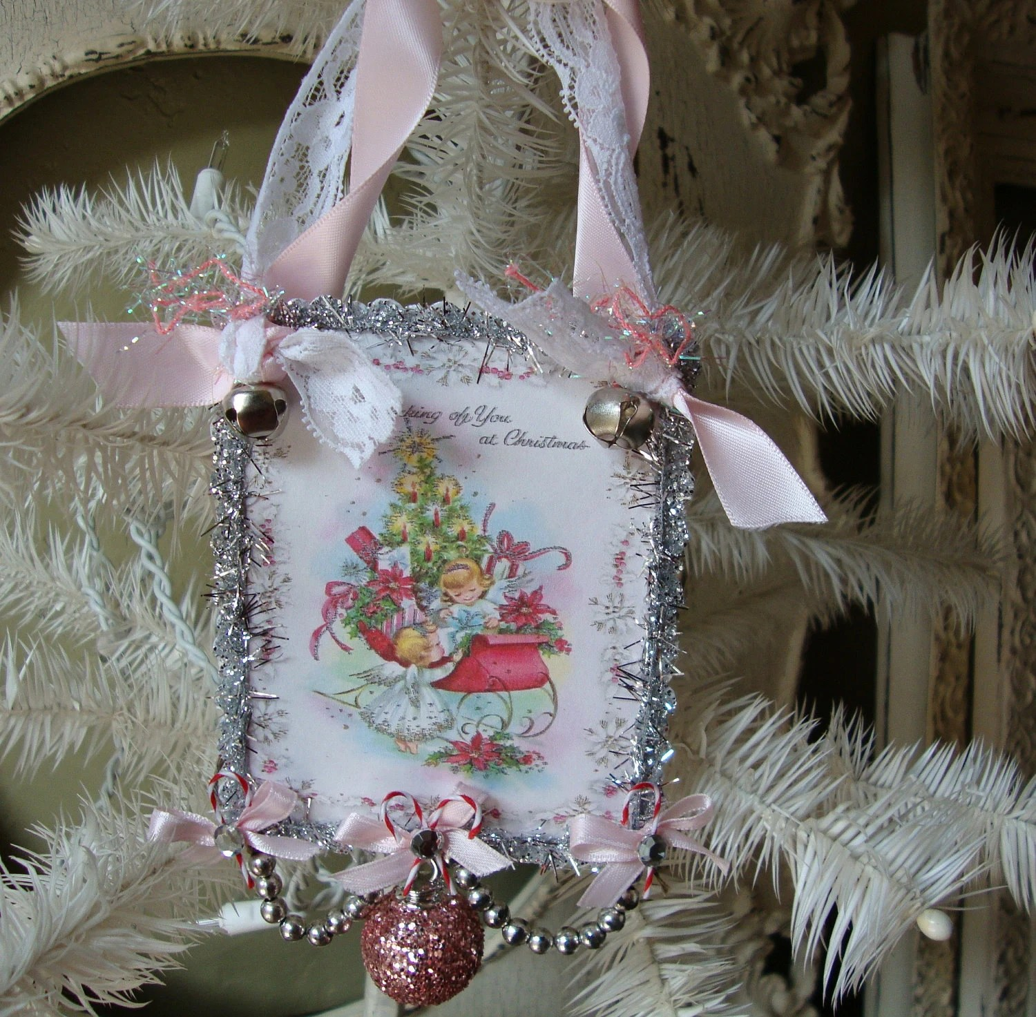 Shabby Chic Pink And Silver Vintage Christmas Card Ornament