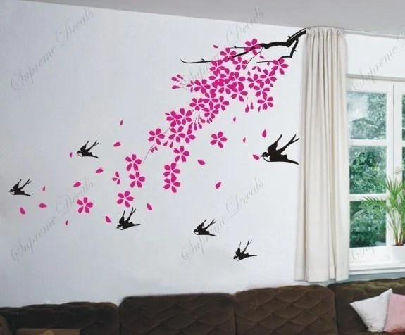 Cherry Blossom Birds Wall Art Home Decors Murals