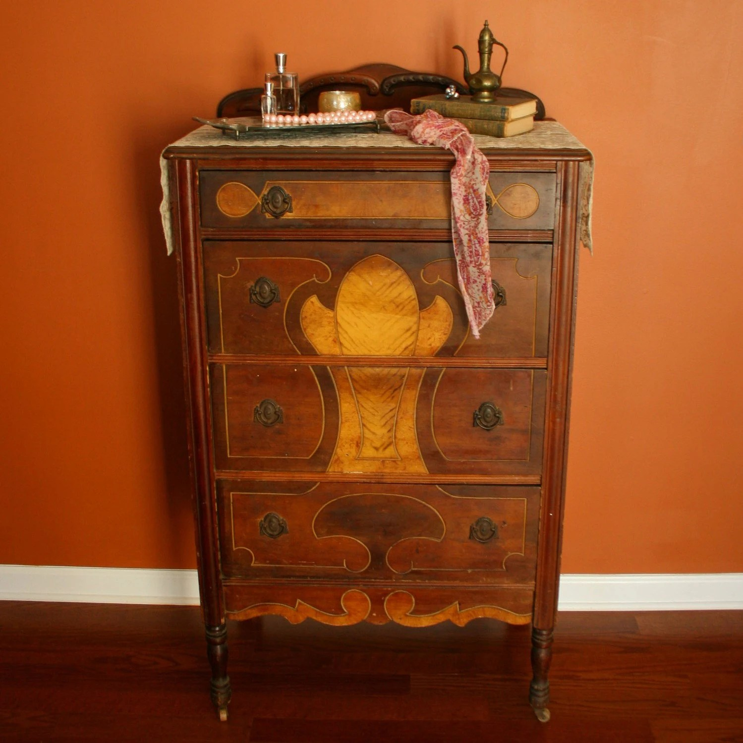 Antique Highboy Chest Of Drawers 1930s Walnut By