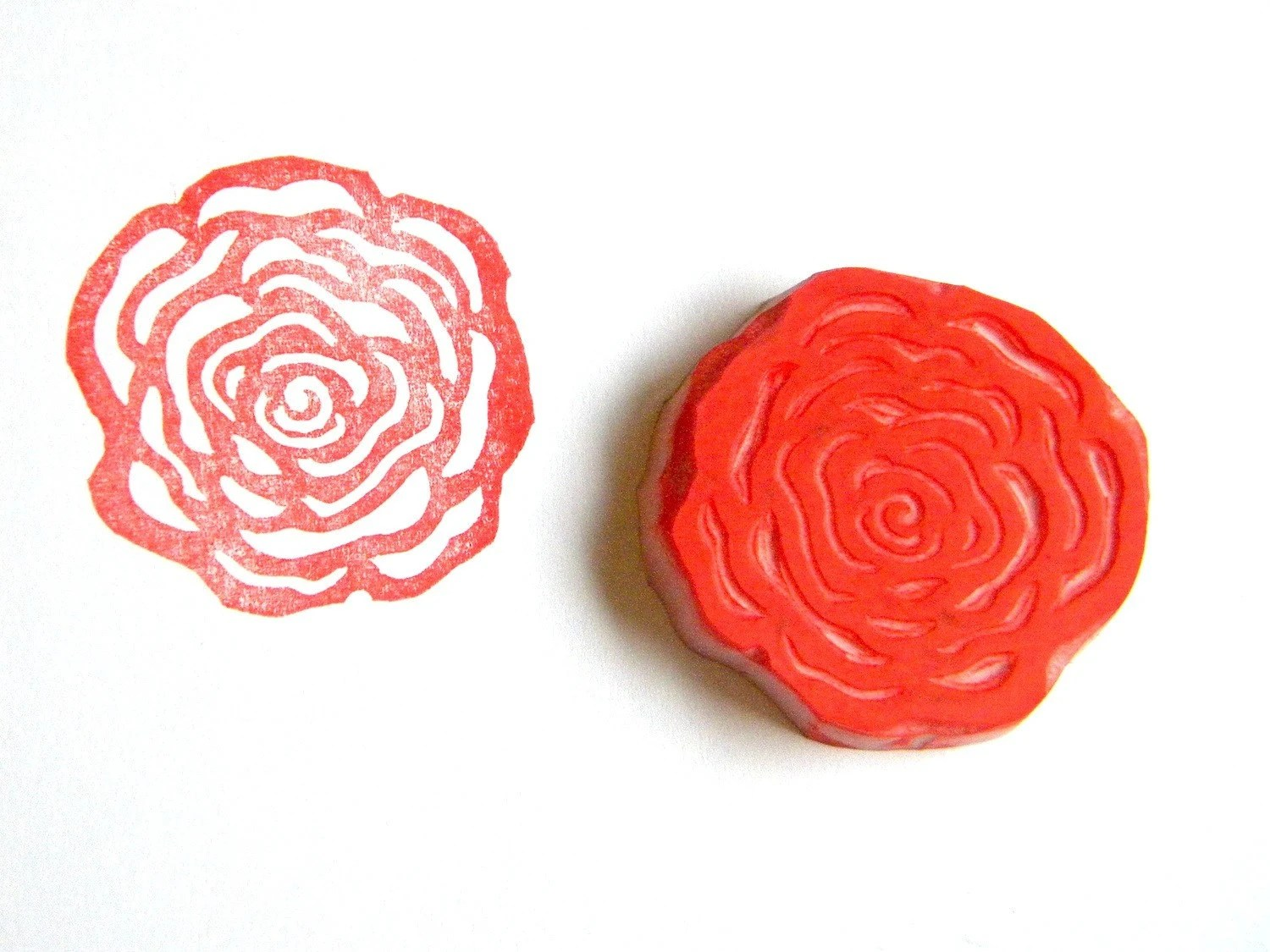 Rose hand carved rubber stamp - GreenGardenStamps