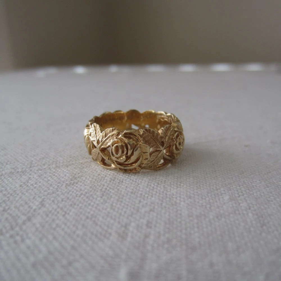 Vintage Wedding Band ArtCarved 1970s Floral Rose By Addy