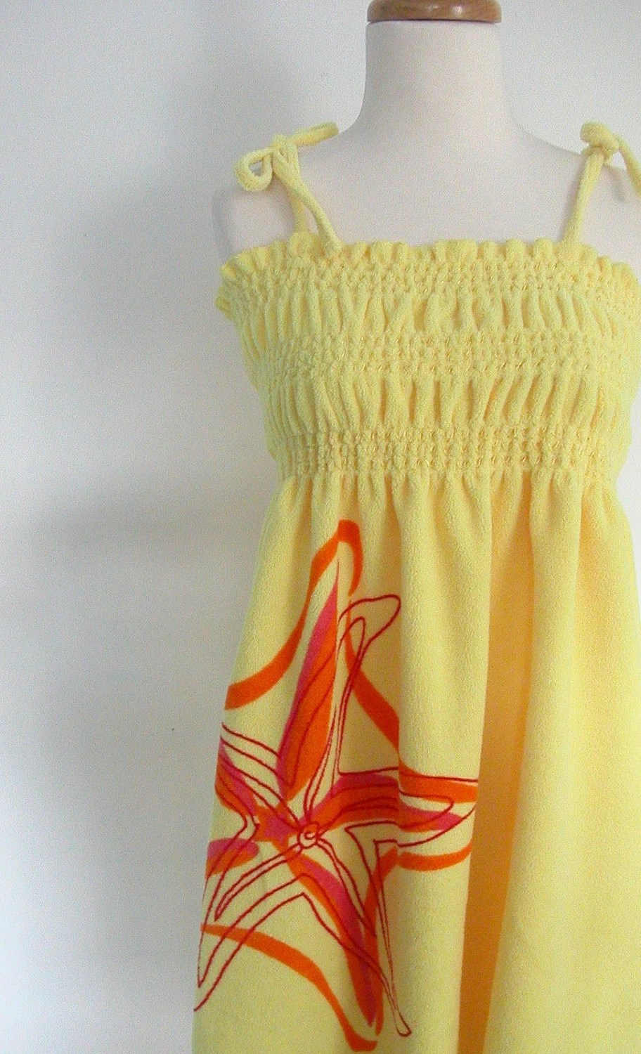 Vintage Terry Cloth Swimsuit Cover Up Yellow Sundress 70s