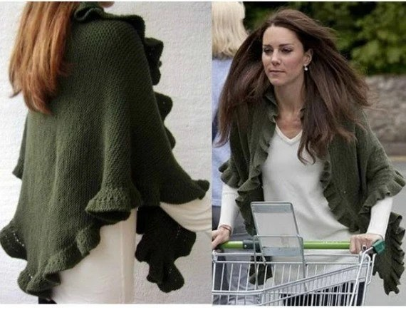 Kate Middleton Olive Green Cashmere Three Sides Ruffled Cute Shawl, Handknit, Express Delivery