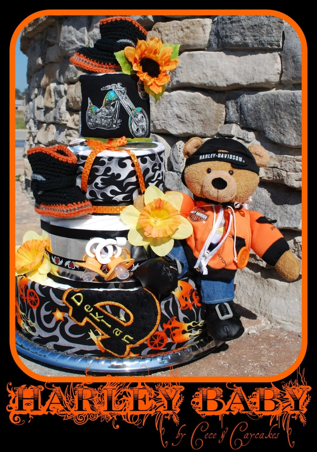 4 Tier Baby S 1st Harley Davidson Diaper Cake By Cece And