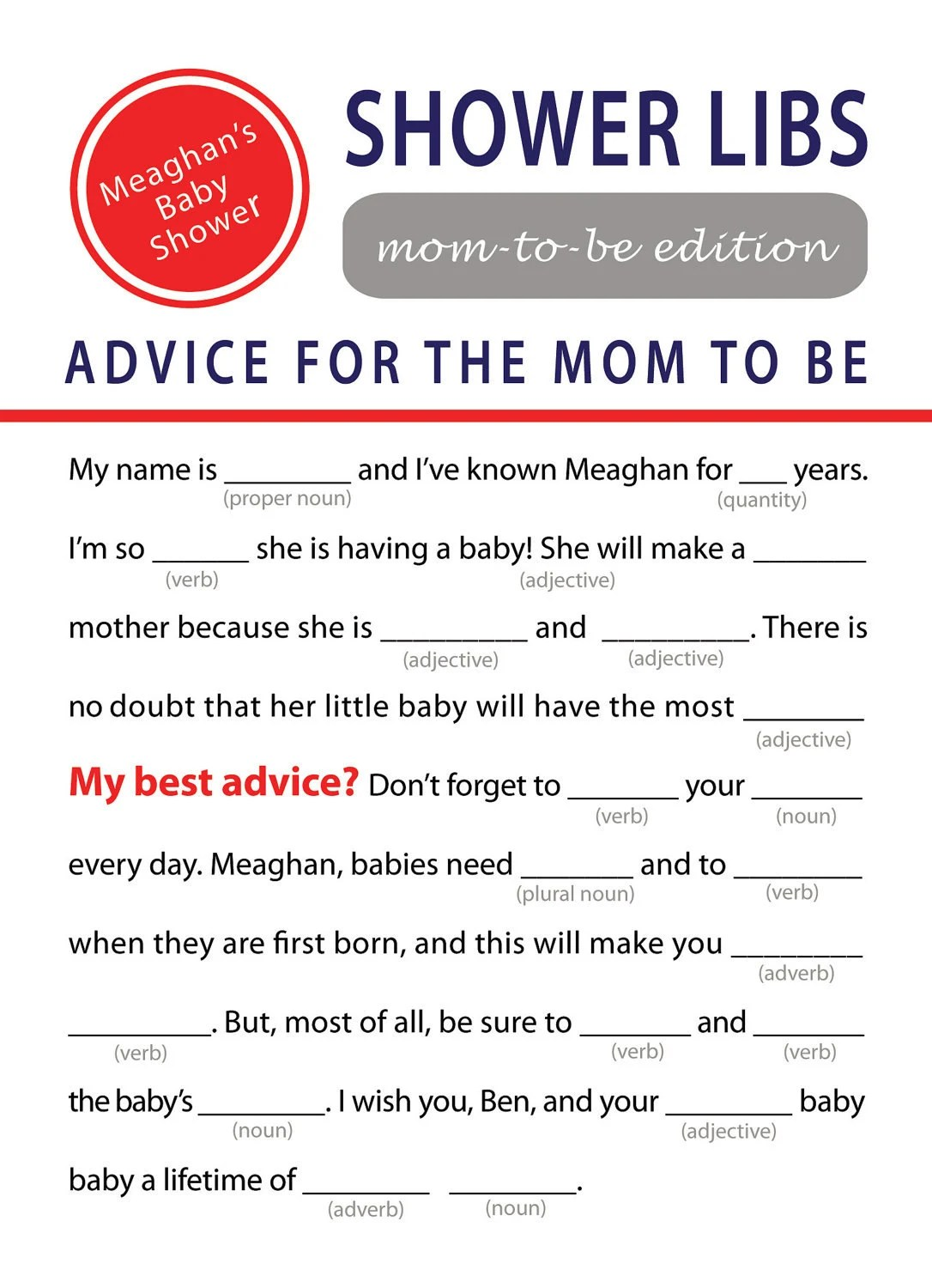 Printable Mad Libs Baby Shower Game By Elinicdesigns On Etsy