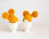 Sunny yellow egg warmers with funny poms - imali