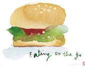Kitchen art - The hamburger - 8 X 10 limited edition print - Food illustration - Watercolor food - lucileskitchen