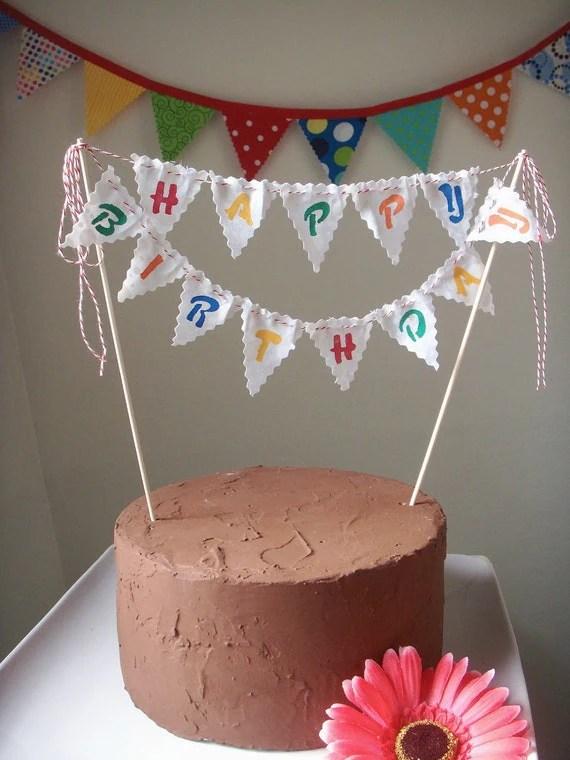Cake Bunting Happy Birthday Custom Colored Hand Painted Fabric