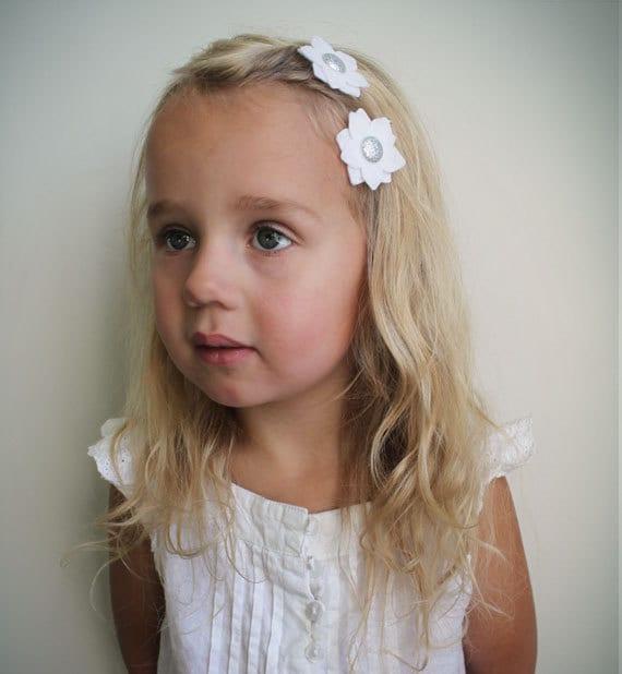 White Flower Hair Clip Little Girl Hair By