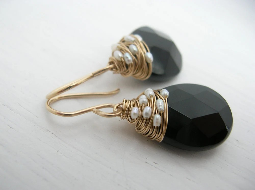 Fresh Water Pearl Woven Black Onyx Earring