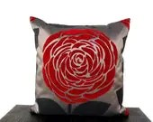 Red Rose Silky Satin Handmade Ecofriendly Pillow Cover 16'' x 16'' - loovee