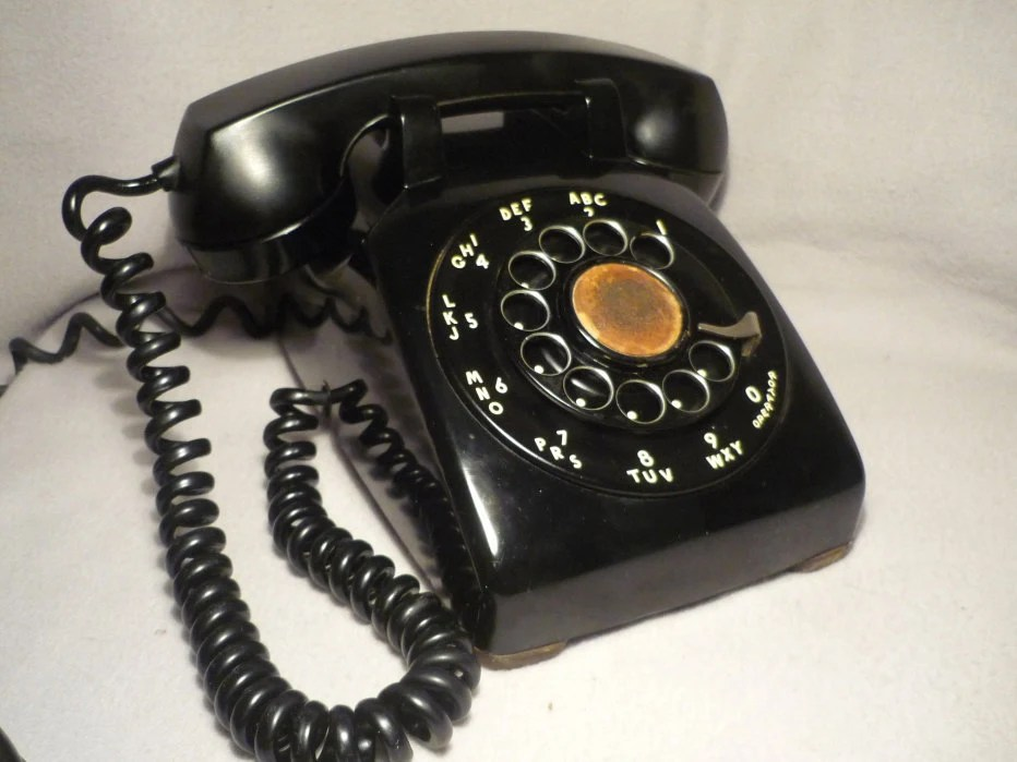 Vintage Black Rotary Dial Phone Hard Wired Untested
