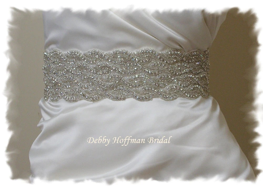 Wedding Dress Sash Beaded Crystal Bridal Belt Rhinestone