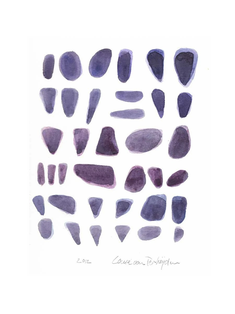 Meditation Abstract painting original painting Rocks purple Original watercolor cottage decor - LouisestArt