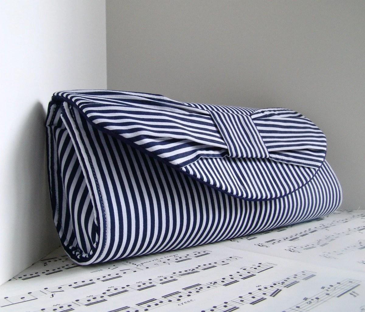 Nautical handbag. Navy blue and white stripe bow clutch. Wedding clutch. Made to order - toriska