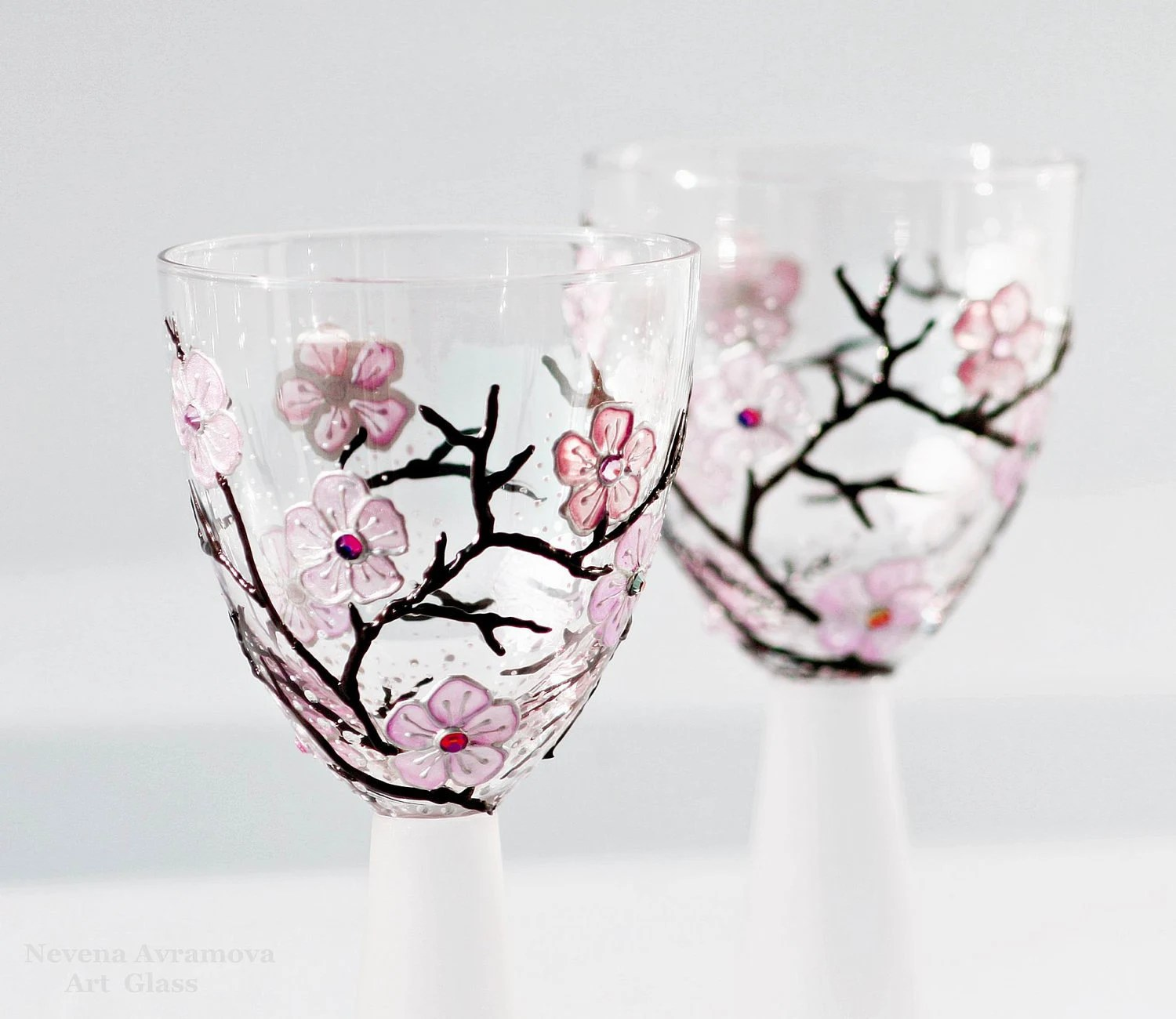 Wine Glasses or Candle Holders Hand Painted Sakura-kiss of spring Pink Violet  Light Rose Pink Swarovski Cristals Set of 2 - NevenaArtGlass